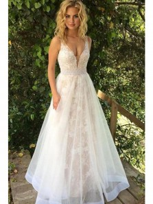 Elegant A Line V Neck Backless Ivory Tulle & Lace Wedding Dresses