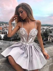 Cute A Line V Neck Spaghetti Straps Lace Short Homecoming Dresses, Short Prom Dresses