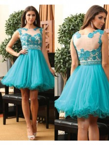 Cute A Line Scoop Teal Tulle Short Homecoming Dresses with Applique, Graduation Dresses