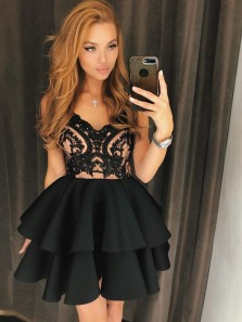 Cute A Line V Neck Backless Satin Black Lace Short Homecoming Dresses, Short Prom Dresses, Little Black Dresses