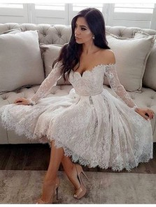 Elegant A Line Off the Shoulder Long Sleeve White Lace Short Homecoming Dresses, Short Prom Dresses HD0720003