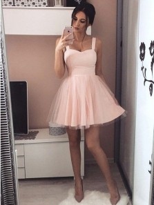 Cute A Line Sweetheart Spaghetti Straps Elastic Satin Pink Short Homecoming Dresses Under 100