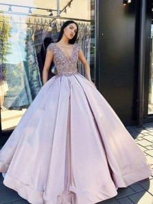 Charming Ball Gown V Neck Backless Lavender Long Prom Dresses with Beading, Formal Long Evening Dresses