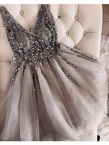 Charming A Line V Neck Grey Tulle Short Homecoming Dresses with Beading, Cute Short Prom Dresses HD0720013
