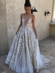 Charming A Line V Neck Backless Long White Lace Wedding Dresses with Applique, Beach Wedding Dresses