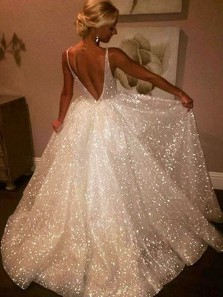 Charming Sparkly A Line V Neck Backless Sequins White Long Wedding Dresses