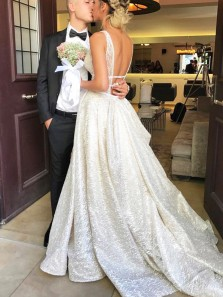 Charming Sparkly V Neck Backless Ivory Sequins & Satin Wedding Dresses with Train