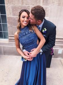 Elegant A Line Halter Cross Back Navy Blue Long Prom Dresses with Beading, 2018 Formal Evening Dresses