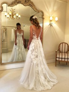 Gorgeous A Line V Neck Open Back White Tulle Wedding Dresses with Appliques, Beautiful Wedding Dresses