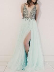 Latest Mint Fairy Tulle Long Prom Dress,Slit Side V Neck Prom Dress with Rhinestone