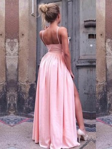 Charming A-Line Spaghetti Straps V Neck Pink Chiffon Long Prom Dresses with Side Split,Formal Party Dresses