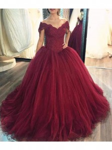 Elegant Ball Gowns Off Shouldr Burgundy Lace Wedding Dress with Applique