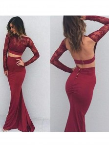 Mermaid Two Pieces Long Prom Dresses, Lace Prom Dresses,Burgundy Long Sleeves Prom Dresses