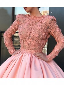 Luxurious A-Line Jewel Long Sleeve Pink Satin Long Prom Dresses with Beading Appliques,Charming Quinceanera Dresses