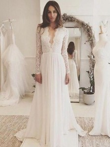 Vintage A-Line V Neck Open Back Long Sleeve White Lace Wedding Dresses
