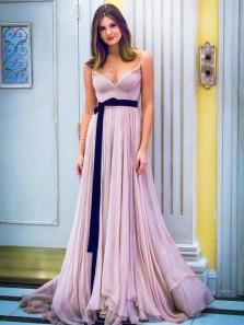 Elegant A-Line Spaghetti Straps Open Back Light Purple Chiffon Long Prom Dresses,Charming Evening Party Dresses DG1029001