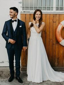 Elegant A-Line Boat Neck Open Back White Chiffon Wedding Dresses,Charming Lace Wedding Dresses