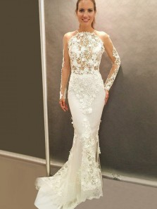 2019 Chic Round Neck Backless Long Sleeve White Lace Mermaid Wedding Dresses