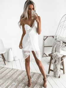 Cute Sheath One Shoulder Open Back White Chiffon Short Homecoming Dresses with Appliques