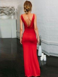 Sexy Sheath V Neck Open Back Red Elastic Satin Long Prom Dresses with Side Split,Evening Party Dresses Under 100