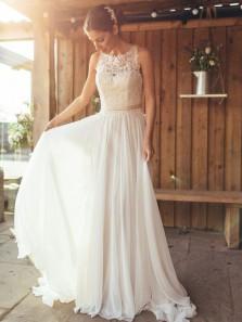 Elegant A-Line Round Neck White Chiffon Wedding Dresses with Lace,Beach Wedding Dresses