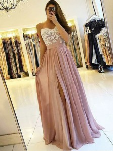 Elegant A-Line Sweetheart Spaghetti Straps Open Back Blush Chiffon Long Prom Dresses with White Lace,Evening Party Dresses