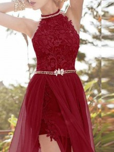 Charming A-Line Halter Open Back Burgundy Chiffon Long Prom Dresses with Lace for Special Occasion Dresses