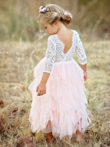 Cute A-Line Round Neck V Back 3/4 Sleeved White Lace Top Pink Tiered Tulle Flower Girl Dresses