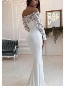 Mermaid Off the Shoulder Open Back Long Sleeve White Satin Wedding Dresses with Train