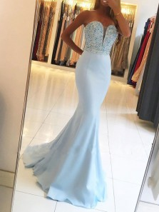 Charming Mermaid Sweetheart Open Back Sky Blue Satin Long Prom Dresses with Beading,Evening Party Dresses