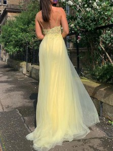 Gorgeous A-Line V Neck Spaghetti Straps Daffodil Tulle Long Prom Evening Dresses with Appliques
