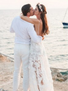 Stunning Deep V Neck Backless White Lace Wedding Dresses,Charming Beach Wedding Gown