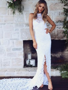 Romantic Sheath Halter Backless White Lace Wedding Dresses with Split
