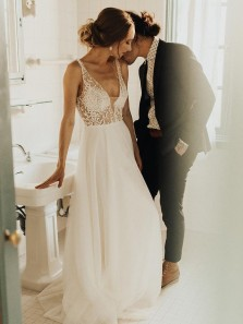 Romantic A-Line V Neck See Through Open Back White Chiffon Beach Wedding Dresses with Pearl