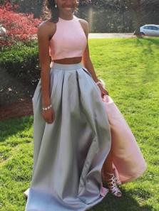 Unique Two Piece Two-tone Halter A-Line Pink Satin Long Prom Dresses,Evening Party Dresses