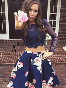 A-Line Two Piece V Back Fuchsia Floral Print Short Homecoming Dresses,Cocktail Party Dresses