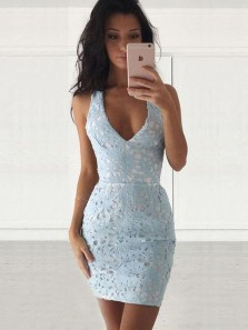 Bodycon V Neck Blue Lace Short Homecoming Dresses Tight,Cocktail Party Dresses Under 100