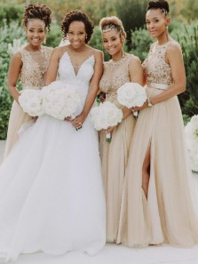 Elegant A-Line Round Neck Champagne Tulle Lace Long Bridesmaid Dresses