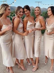 Sheath Spaghetti Straps Backless Silk Elastic Satin Tea-Length Bridesmaid Dress Under 90