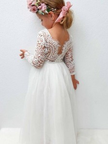 Cute A-Line Long Sleeves White Lace Tulle Flower Girl Dresses