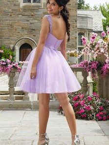 Chic A-Line Sweetheart Lilac Tulle Short Homecoming Dresses with Beading