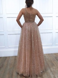 Sparkly A-Line One Shoulder Blush Pink Tulle Prom Evening Dresses with Beading,Formal Party Dresses
