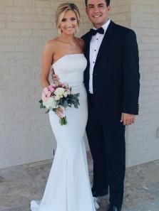Simple Mermaid Strapless Open Back White Elastic Satin Wedding Dresses