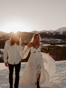 Unique Two Piece Long Sleeves Sweetheart White Lace Wedding Dresses with Split