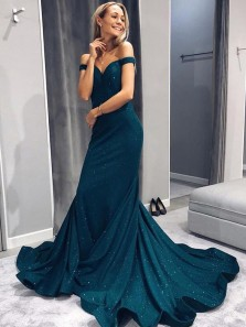 Sparkly Off the Shoulder Green Long Prom Dresses with Train,Charming Formal Party Dresses DG0918010
