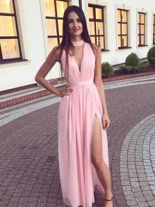 Unique A-Line Halter V Neck Open Back Pink Chiffon Long Prom Dresses with Side Split,Simple Evening Party Dresses