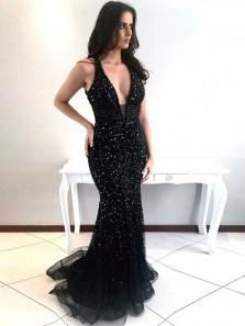 Modest Mermaid Deep V Neck Open Back Black Satin Long Prom Dresses with Beading,Charming Formal Dresses