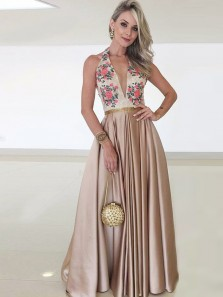 Stylish A-Line Halter V Neck Open Back Champagne Satin Long Prom Dresses with Embroidery,Charming Evening Dresses