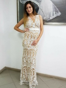 Elegant Sheath V Neck Open Back White Lace Long Prom Dresses,Fashion Evening Party Dresses