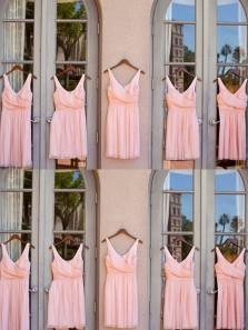 Cute A-Line V Neck Open Back Pink Chiffon Short Bridesmaid Dresses Under 100